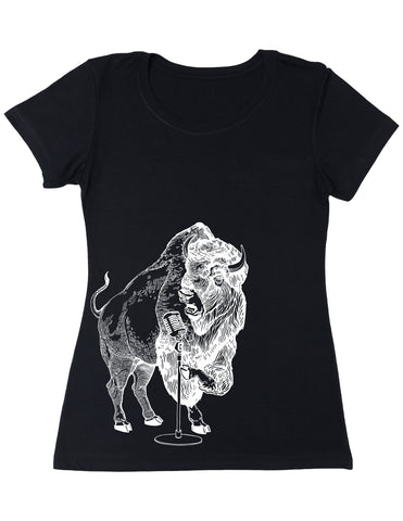 SEEMBO Bison Trying To Sing Women's Poly-Cotton T-Shirt Side Print