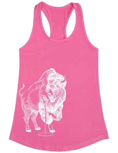 SEEMBO Bison Trying To Sing Women's Poly-Cotton Tank Top Side Print