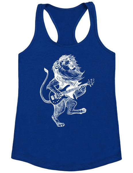 SEEMBO Lion Playing Guitar Women's Poly-Cotton Tank Top