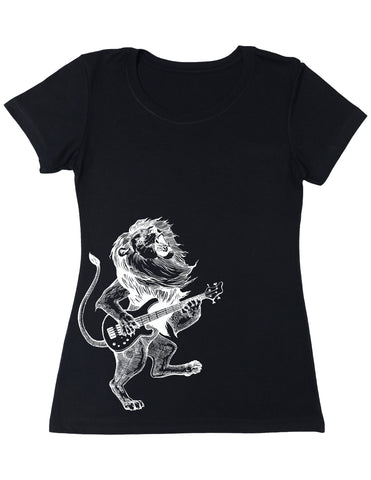 SEEMBO Lion Playing Guitar Women's Poly-Cotton T-Shirt Side Print