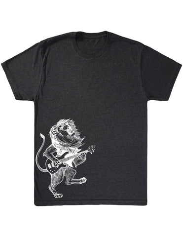 SEEMBO Lion Playing Guitar Men's Tri-Blend T-Shirt Side Print