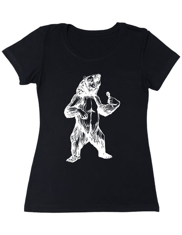 bear trying to sing karaoke seembo women poly cotton shirt black color