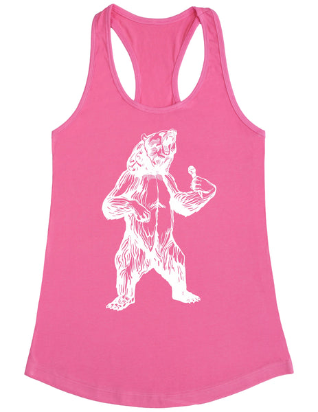 bear trying to sing karaoke seembo women poly cotton tank top pink color