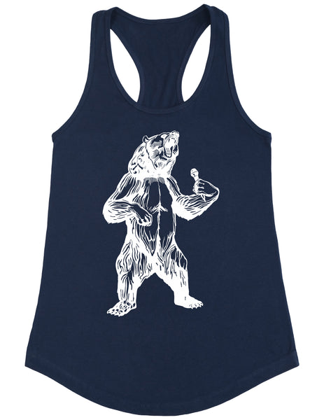 bear trying to sing karaoke seembo women poly cotton tank top navy color