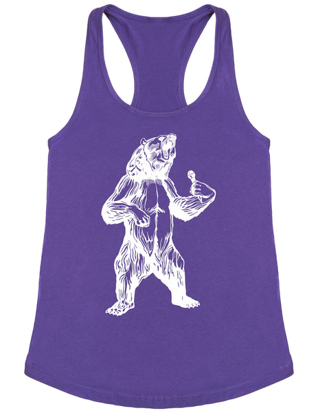 bear trying to sing karaoke seembo women poly cotton tank top purple color
