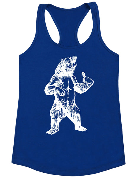 bear trying to sing karaoke seembo women poly cotton tank top royal color