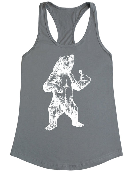 bear trying to sing karaoke seembo women poly cotton tank top grey color
