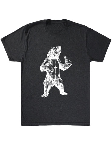bear trying to sing karaoke seembo men tri blend shirt vintage black color