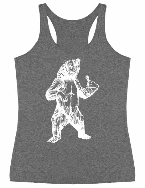 SEEMBO Bear Trying To Sing Women's Tri-Blend Tank Top