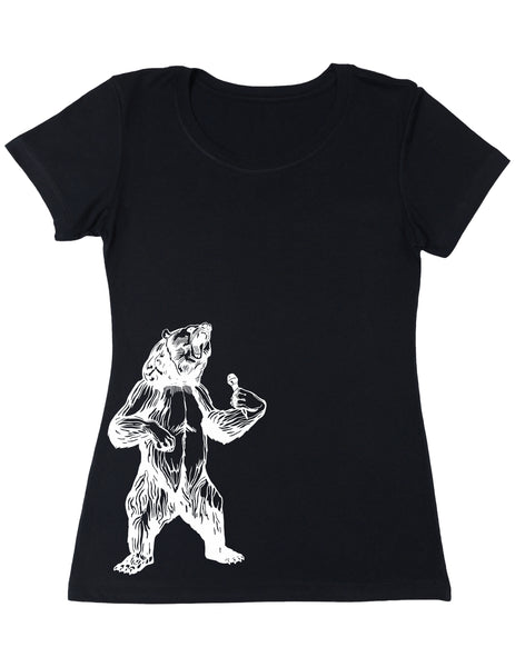 bear trying to sing karaoke seembo women poly cotton shirt black color side print