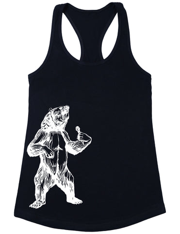 SEEMBO Bear Trying To Sing Women's Poly-Cotton Tank Top Side Print
