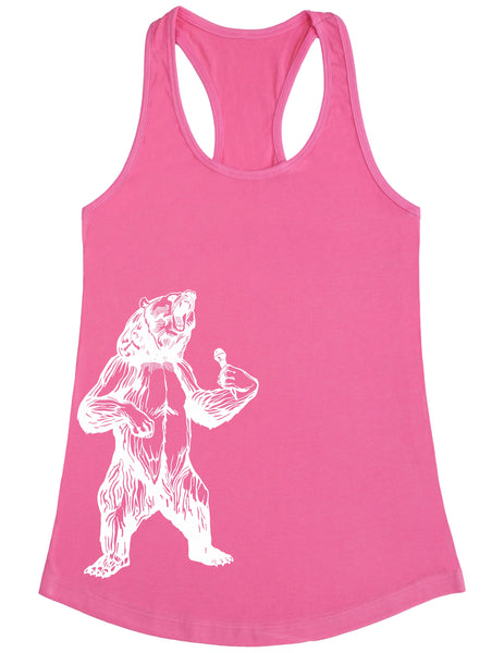 bear trying to sing karaoke seembo women poly cotton tank top pink color side print