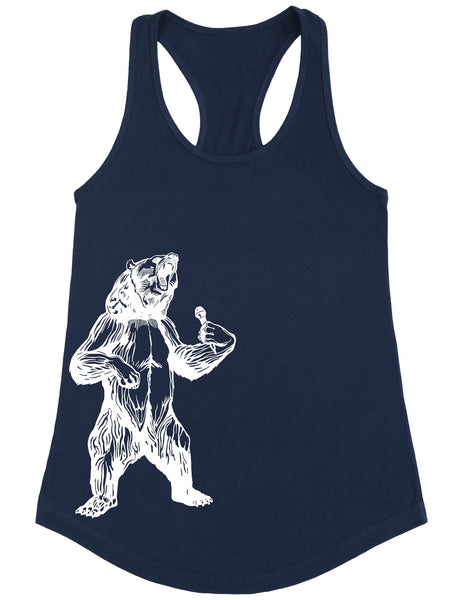 bear trying to sing karaoke seembo women poly cotton tank top navy color side print