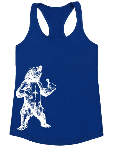 bear trying to sing karaoke seembo women poly cotton tank top royal color side print