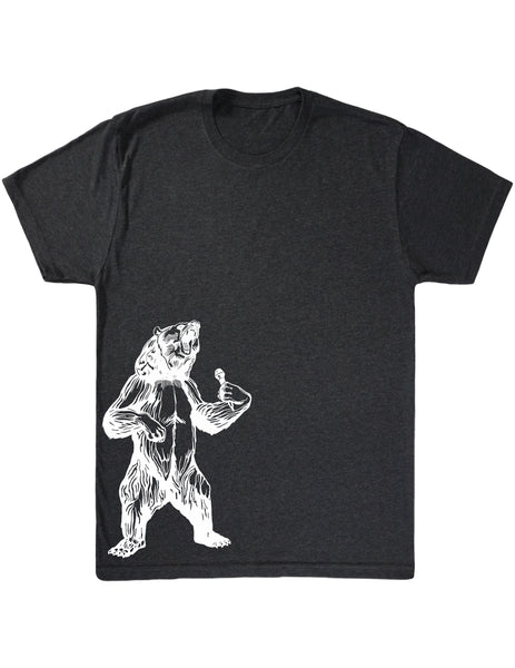 bear trying to sing karaoke seembo men tri blend shirt vintage black color side print