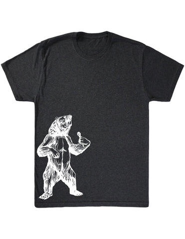 SEEMBO Bear Trying To Sing Men's Tri-Blend T-Shirt Side Print
