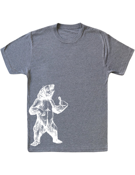 bear trying to sing karaoke seembo men tri blend shirt vintage grey color side print