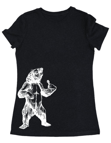 SEEMBO Bear Trying To Sing Women's Tri-Blend T-Shirt Side Print