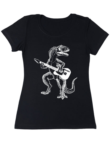 SEEMBO Dinosaur Playing Guitar Women's Poly-Cotton T-Shirt
