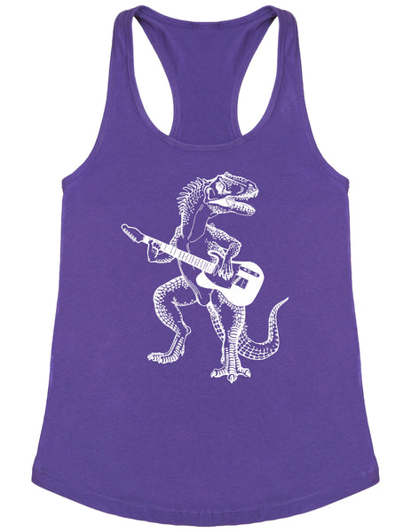 SEEMBO Dinosaur Playing Guitar Women's Poly-Cotton Tank Top