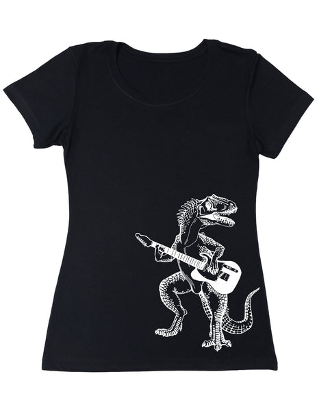 SEEMBO Dinosaur Playing Guitar Women's Poly-Cotton T-Shirt Side Print