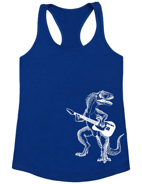 SEEMBO Dinosaur Playing Guitar Women's Poly-Cotton Tank Top Side Print