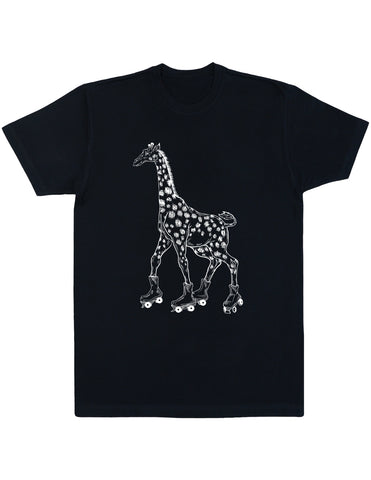 Seembo Giraffe On Rollerskates Men's Cotton T-Shirt