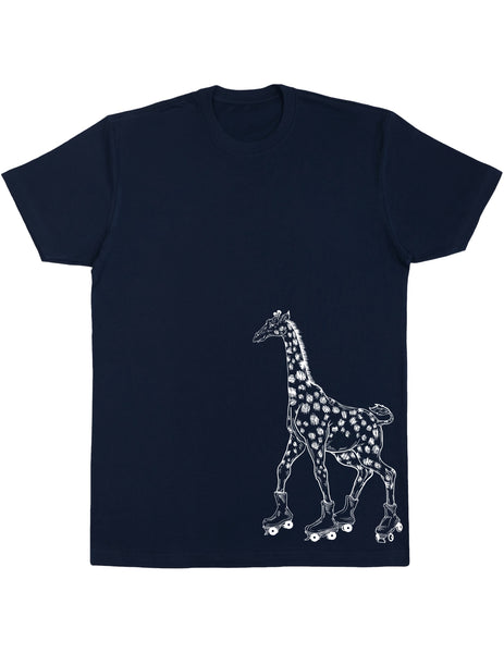 SEEMBO Giraffe On A Roller Skates Men's Cotton T-Shirt Side Print