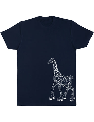 Seembo Giraffe On Rollerskates Men's Cotton T-Shirt Side Print
