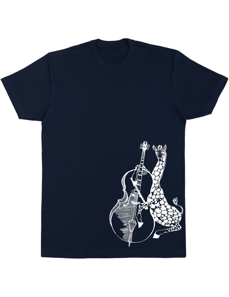 SEEMBO Giraffe Playing Cello Men's Cotton T-Shirt Side Print