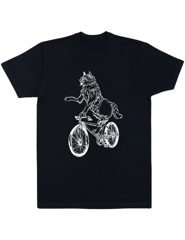 Seembo Wolf On Bicycle Men's Cotton T-Shirt