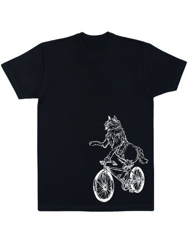 SEEMBO Wolf On A Bicycle Men's Cotton T-Shirt Side Print