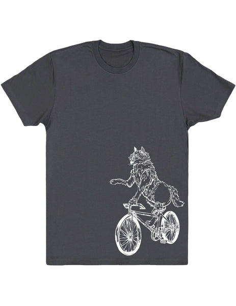 Seembo Wolf On Bicycle Men's Cotton T-Shirt Side Print