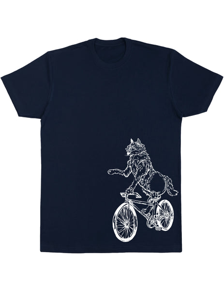 SEEMBO Wolf Cycling Bicycle Men's Cotton T-Shirt Side Print