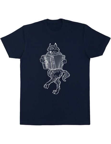 SEEMBO Wolf Playing Accordion Men's Cotton T-Shirt