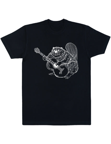 SEEMBO Beaver Playing Guitar Men's Cotton T-Shirt