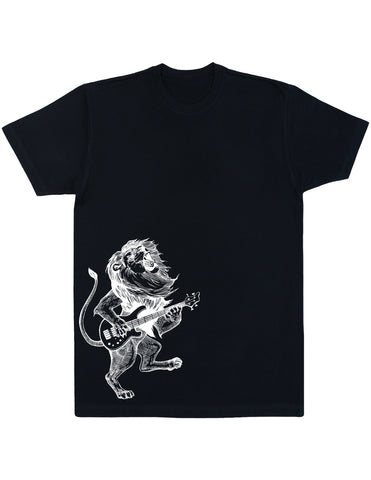 Seembo Lion Playing Guitar Men's Cotton T-Shirt Side Print