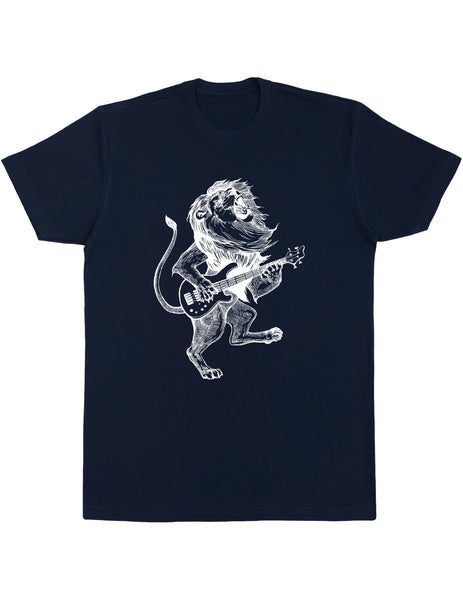 Seembo Lion Playing Guitar Men's Cotton T-Shirt