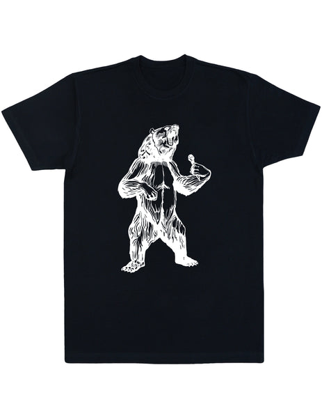 bear trying to sing karaoke men cotton shirt seembo black color