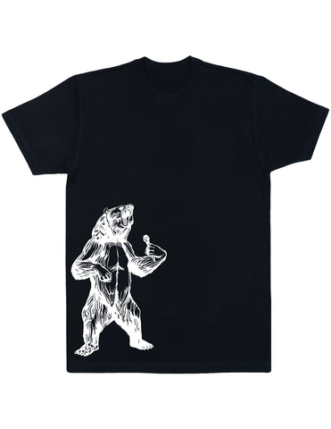 bear trying to sing karaoke seembo men cotton shirt black color side print