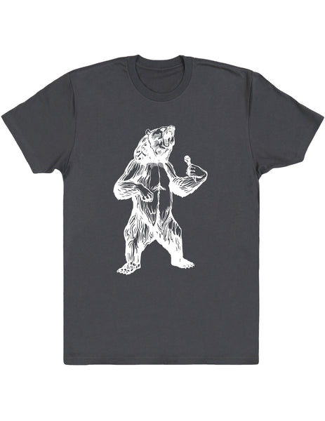 bear trying to sing karaoke men cotton shirt seembo asphalt color
