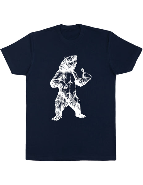 bear trying to sing karaoke men cotton shirt seembo navy color