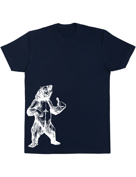 bear trying to sing karaoke seembo men cotton shirt navy color side print