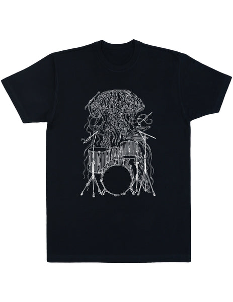 SEEMBO Jellyfish Playing Drums Men's Cotton T-Shirt