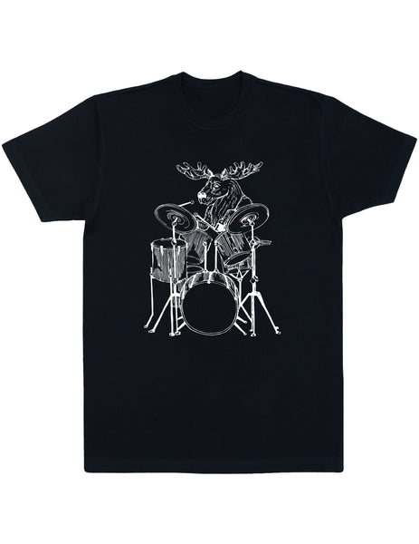 SEEMBO Moose Playing Drums Men's Cotton T-Shirt
