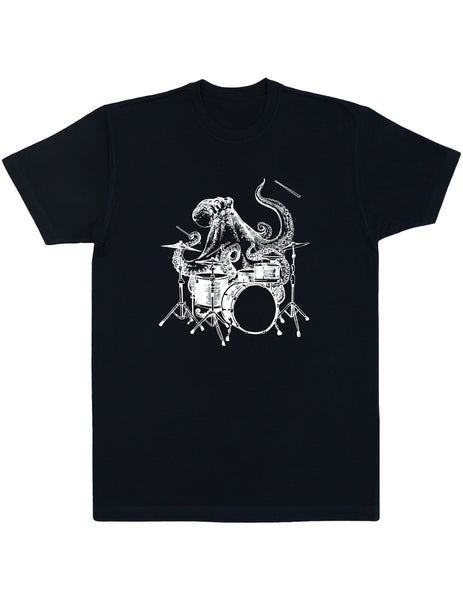 octopus playing drums shirt seembo men unisex black color