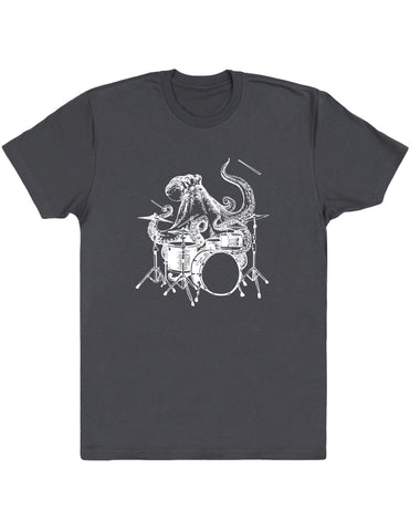 octopus playing drums shirt seembo men unisex asphalt color