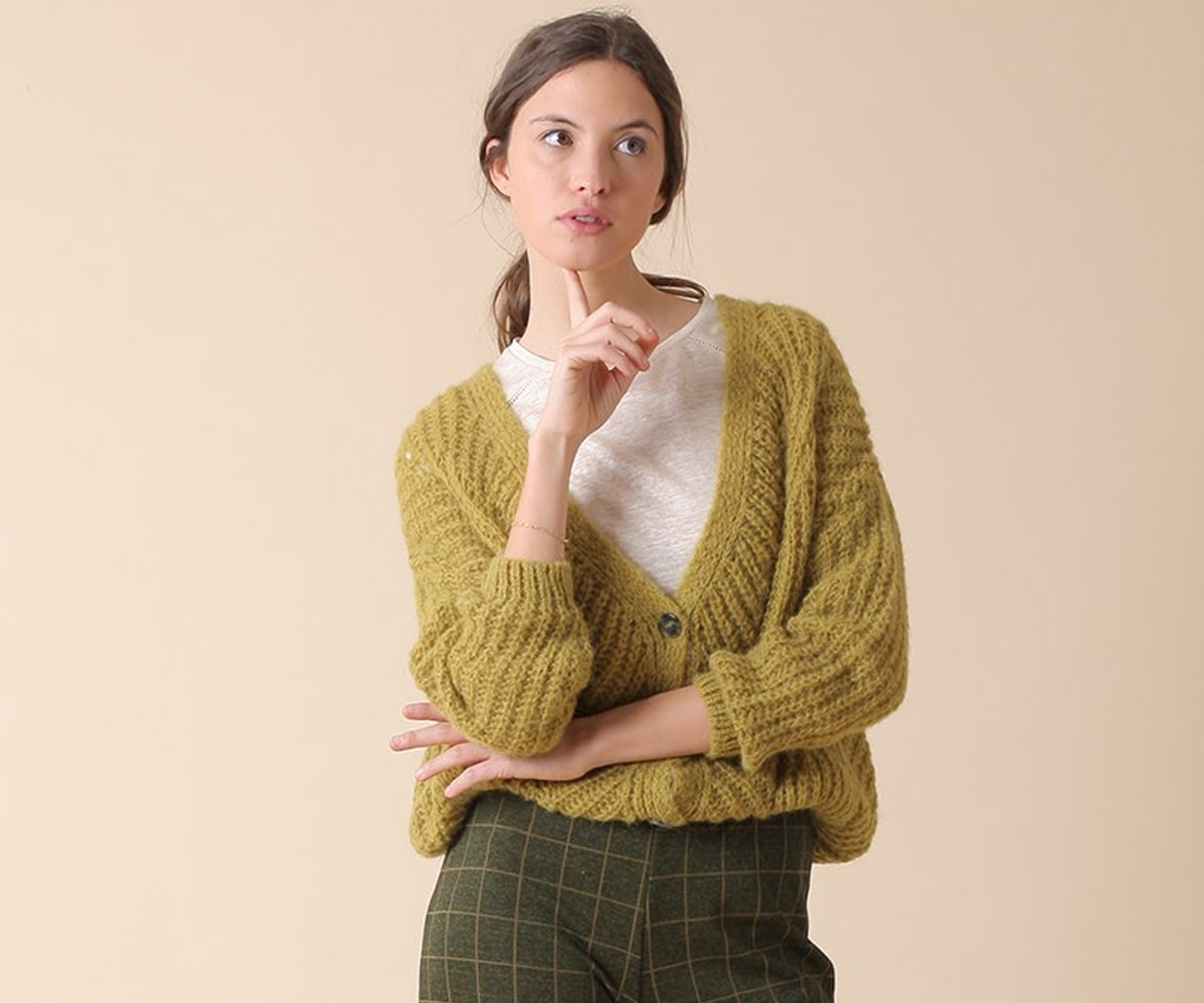 Indi & Cold Oversized Cardigan in Olive