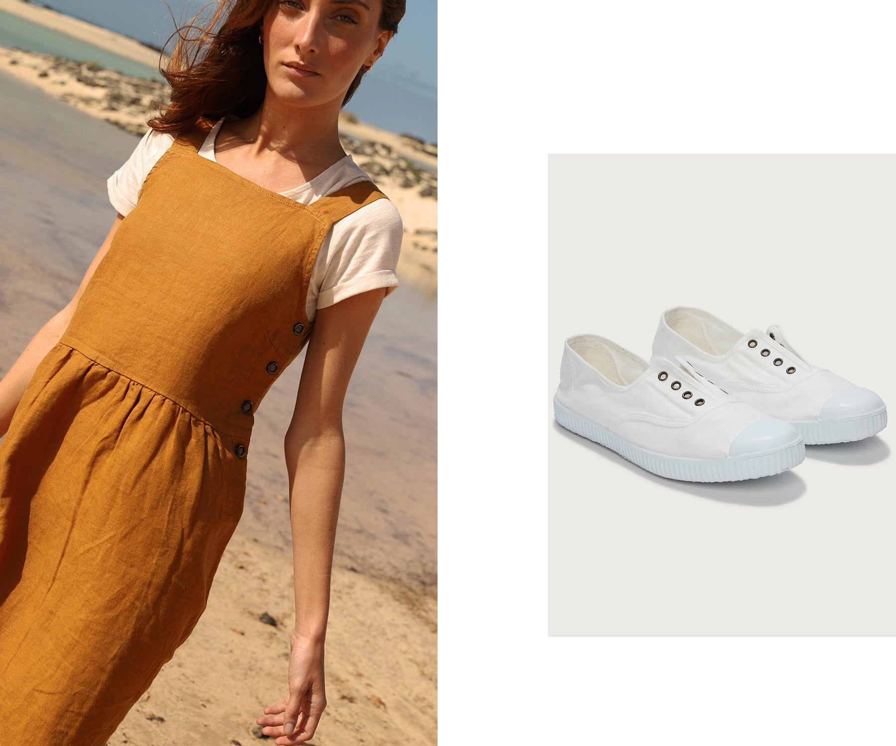 Indi & Cold Pinafore Dress in Amber