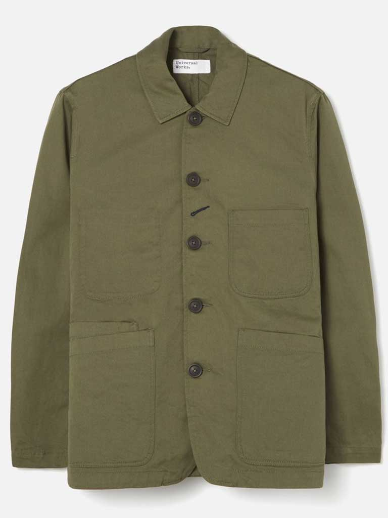 Universal Works Bakers Jacket in Olive Twill